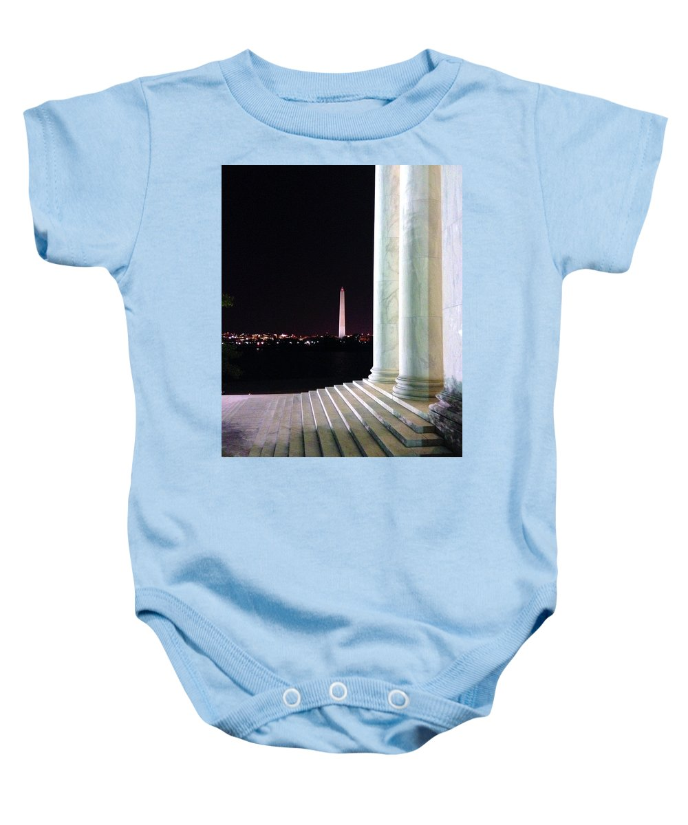 Baby Onesie featuring the photograph Washington Monument From Stairs Of Jefferson by Brian O'Kelly