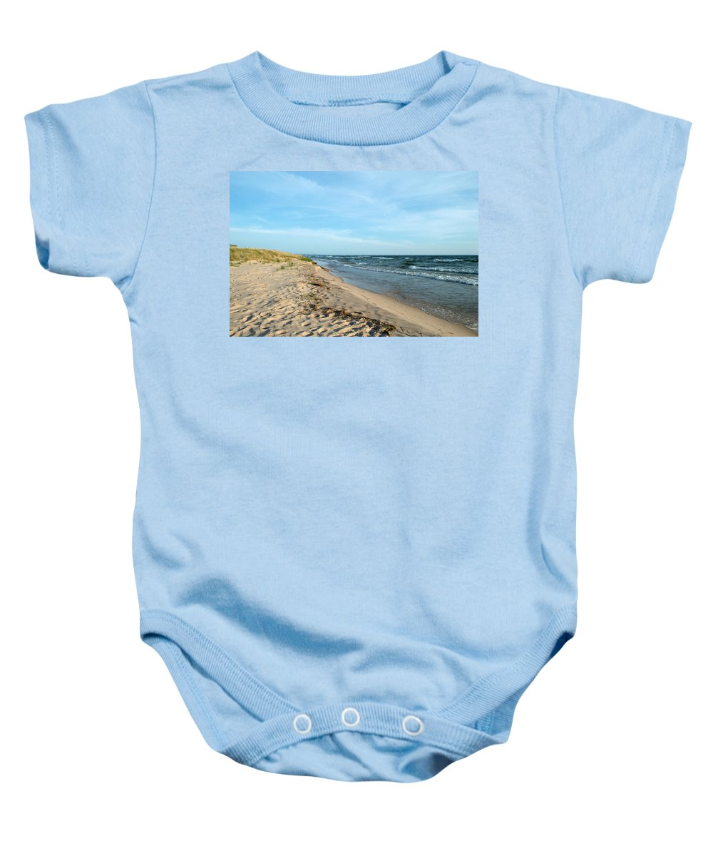 Michigan Baby Onesie featuring the photograph Water And The Beach by Linda Kerkau