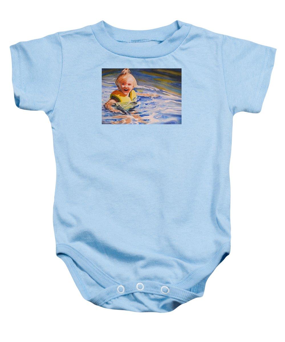 Swimming Baby Onesie featuring the painting Water Baby by Karen Stark