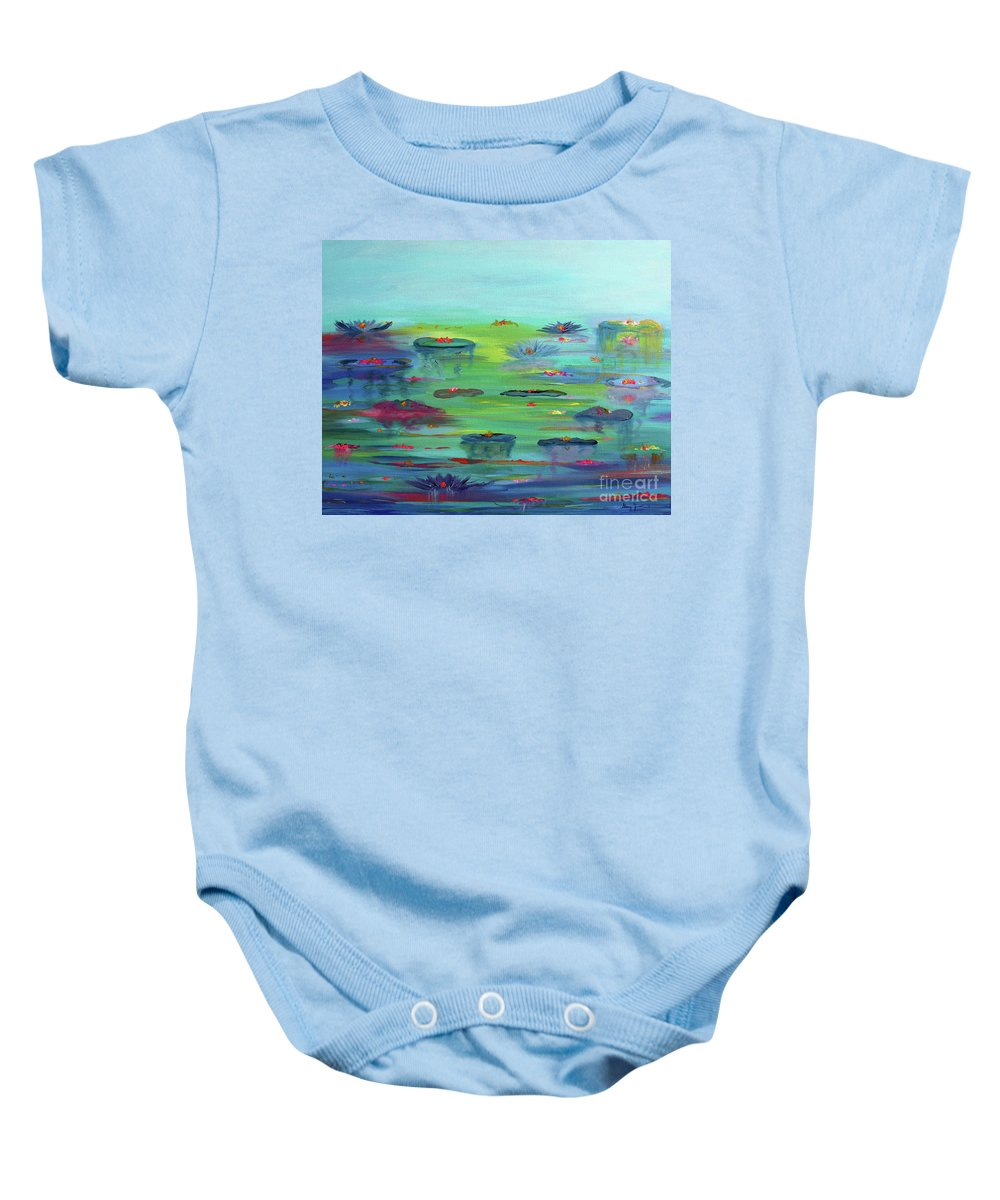 Water Lily Baby Onesie featuring the painting Water Lillies by Stacey Zimmerman