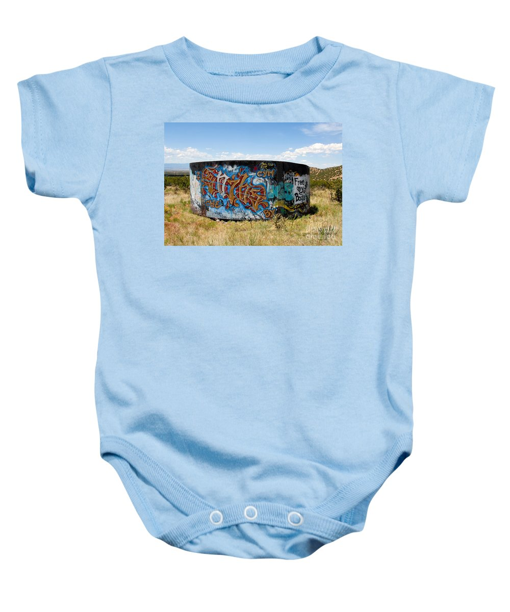 Graffiti Baby Onesie featuring the photograph Water Tank Graffiti by David Lee Thompson