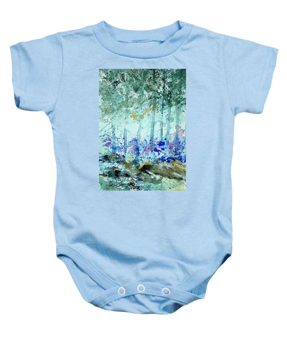 Tree Baby Onesie featuring the painting Watercolor 011105 by Pol Ledent