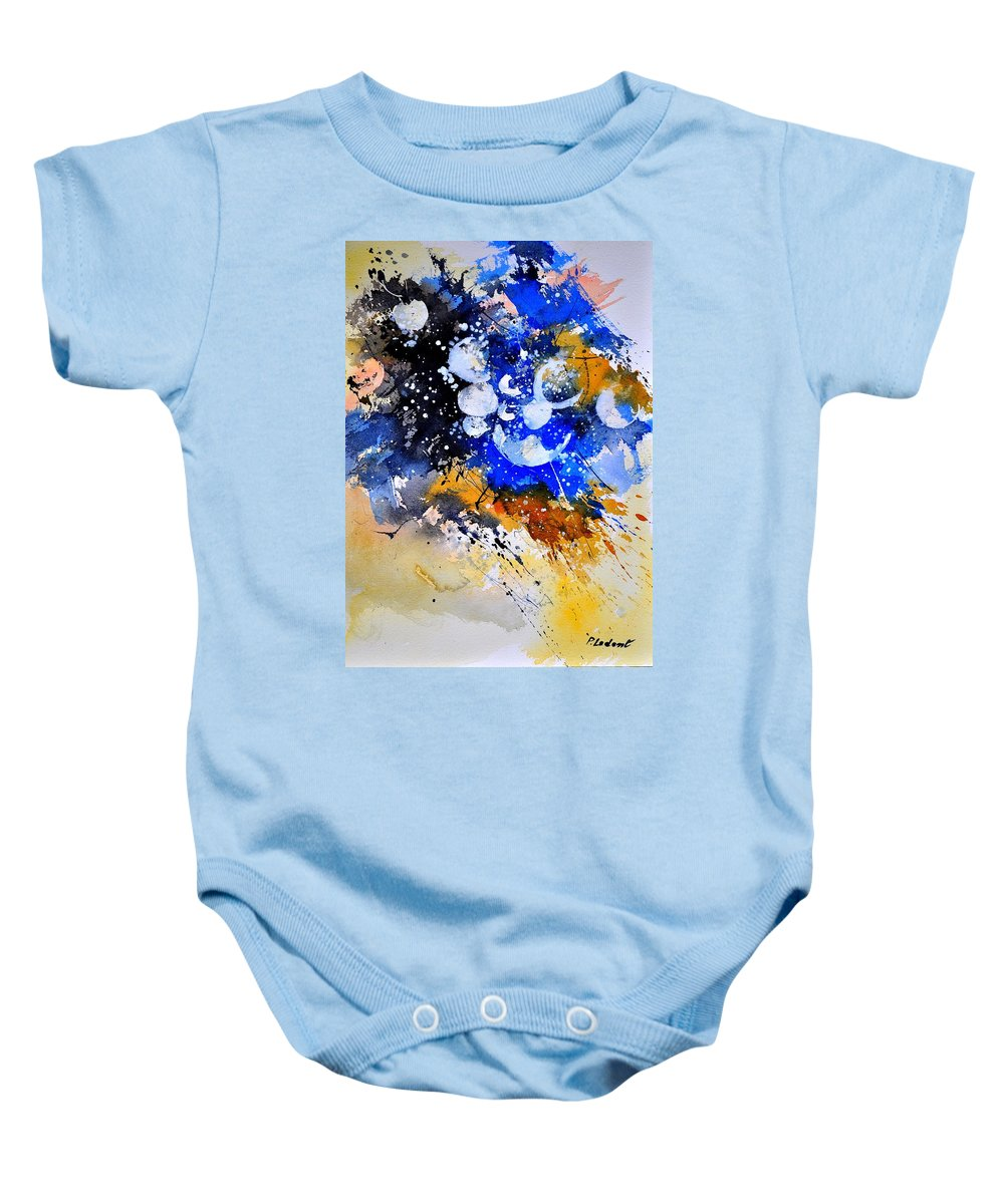 Abstract Baby Onesie featuring the painting Watercolor 111001 by Pol Ledent