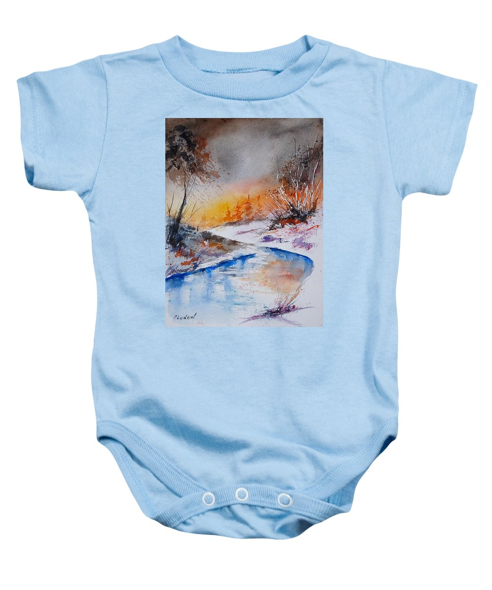 Snow Baby Onesie featuring the painting Watercolor 200308 by Pol Ledent