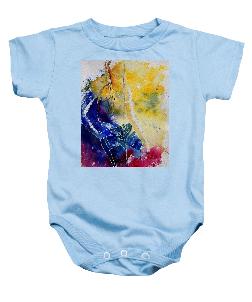 Girl Nude Baby Onesie featuring the painting Watercolor 21546 by Pol Ledent
