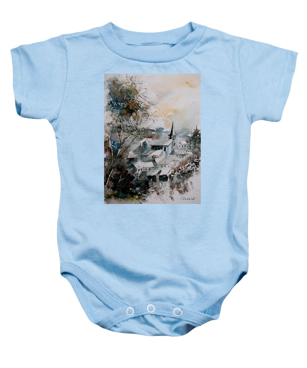 Winter Baby Onesie featuring the painting Watercolor Houyet by Pol Ledent