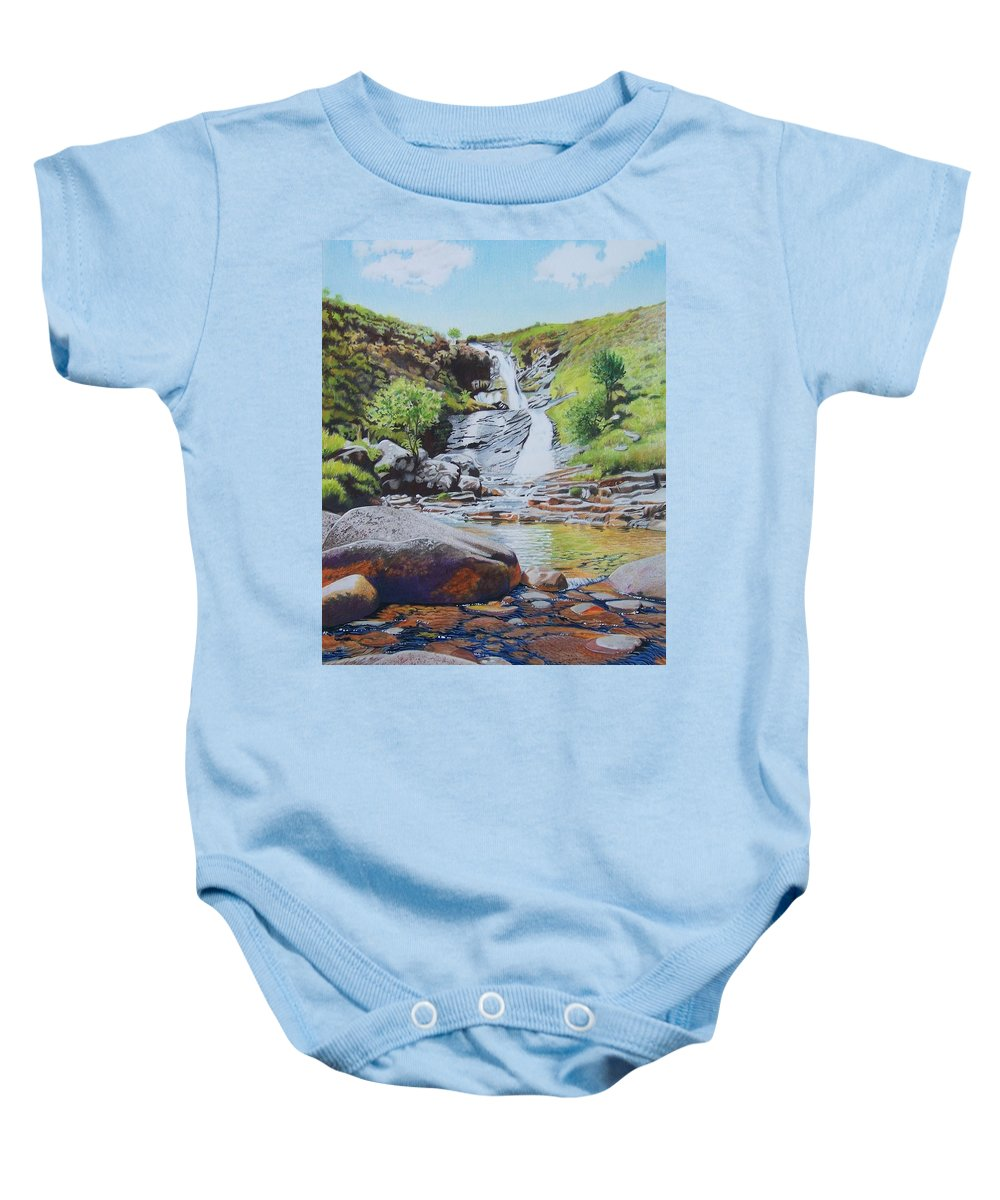 Waterfall Baby Onesie featuring the mixed media Waterfall On Skye 2 by Constance Drescher