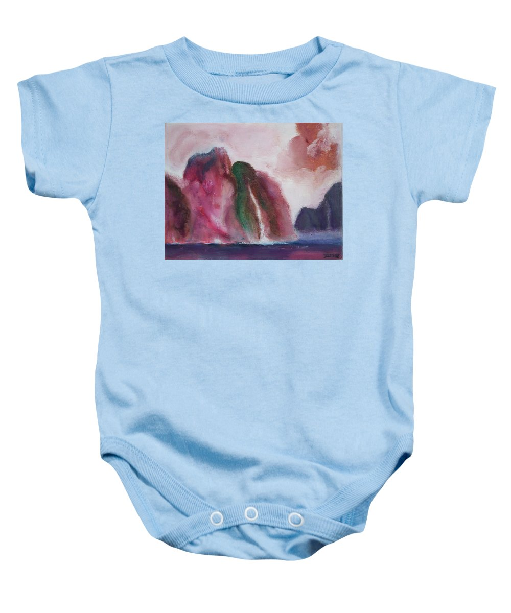 Abstract Painting Baby Onesie featuring the painting Waterfull by Suzanne Udell Levinger