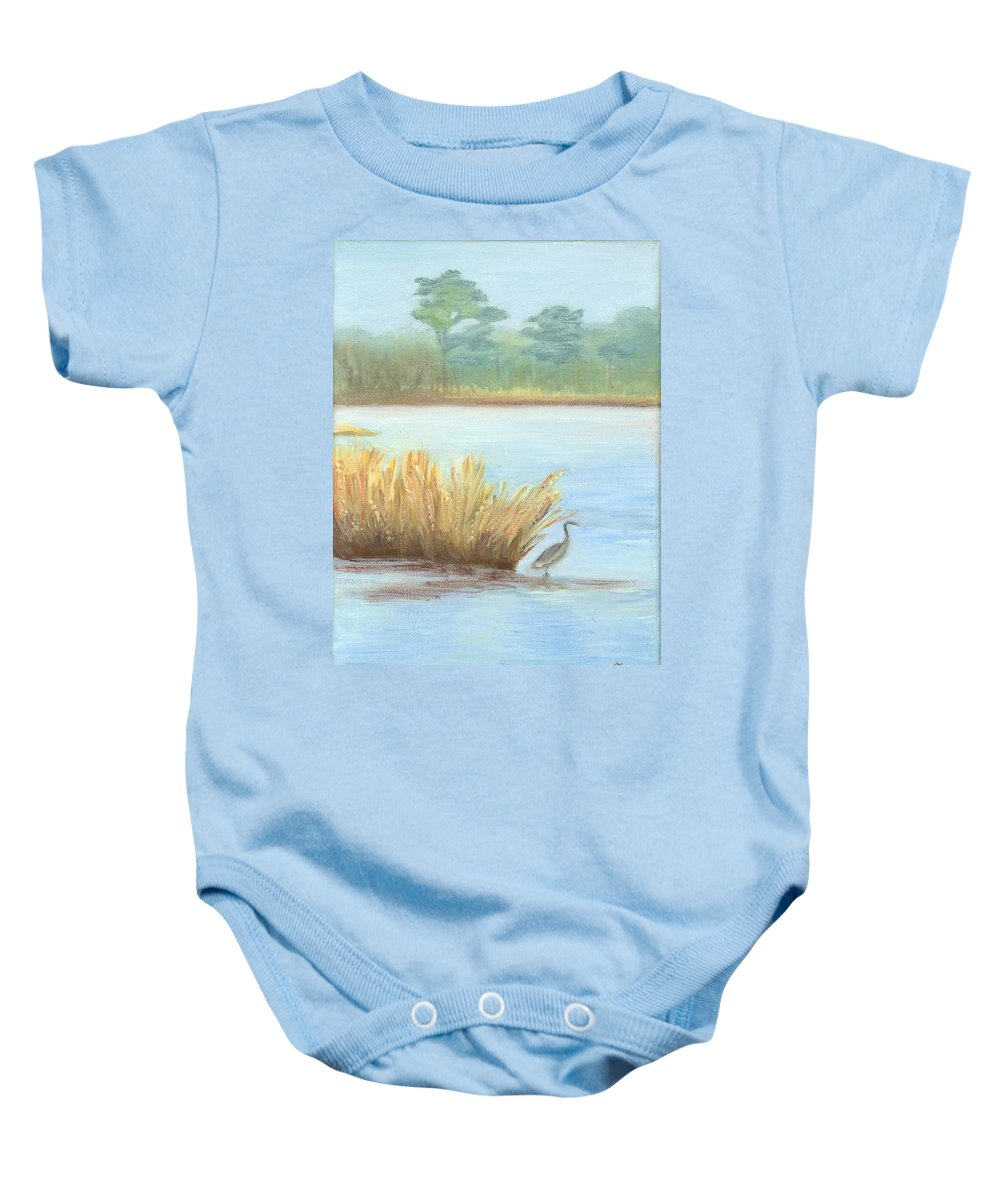 Water Paintings Baby Onesie featuring the painting Waterside by Deborah Butts