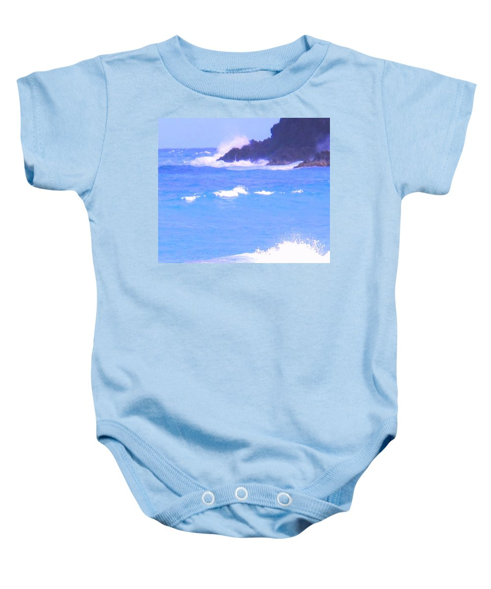 Ocean Baby Onesie featuring the photograph Waves Crashing by Ian MacDonald