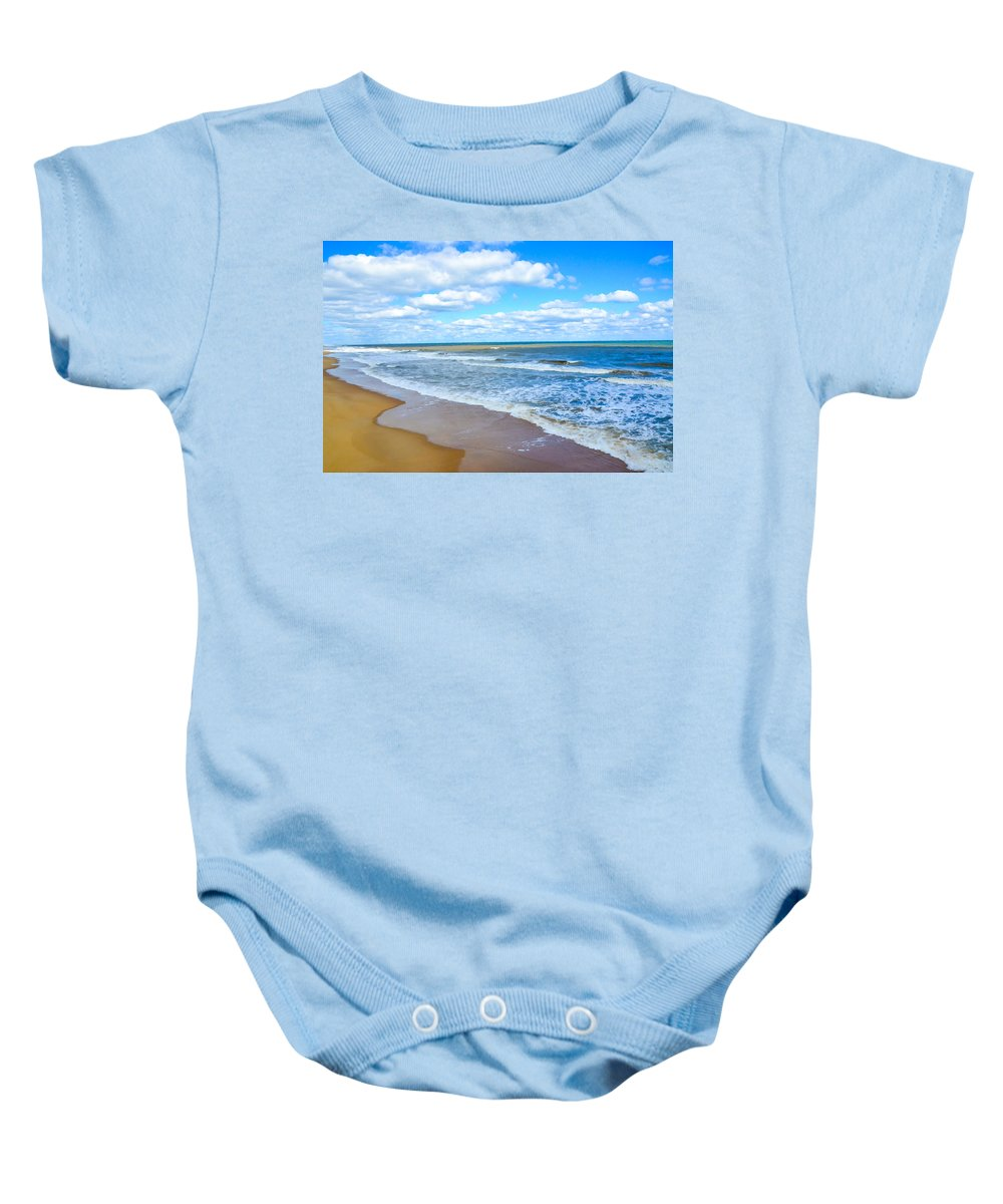 Waves Lapping On Beach Baby Onesie featuring the painting Waves Lapping On Beach 3 by Jeelan Clark