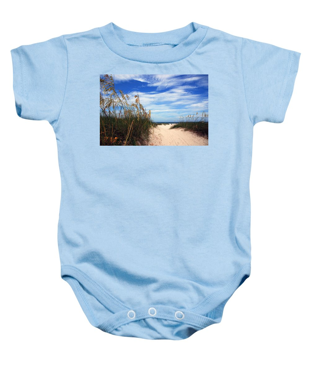 Beach Baby Onesie featuring the photograph Way Out To The Beach by Susanne Van Hulst