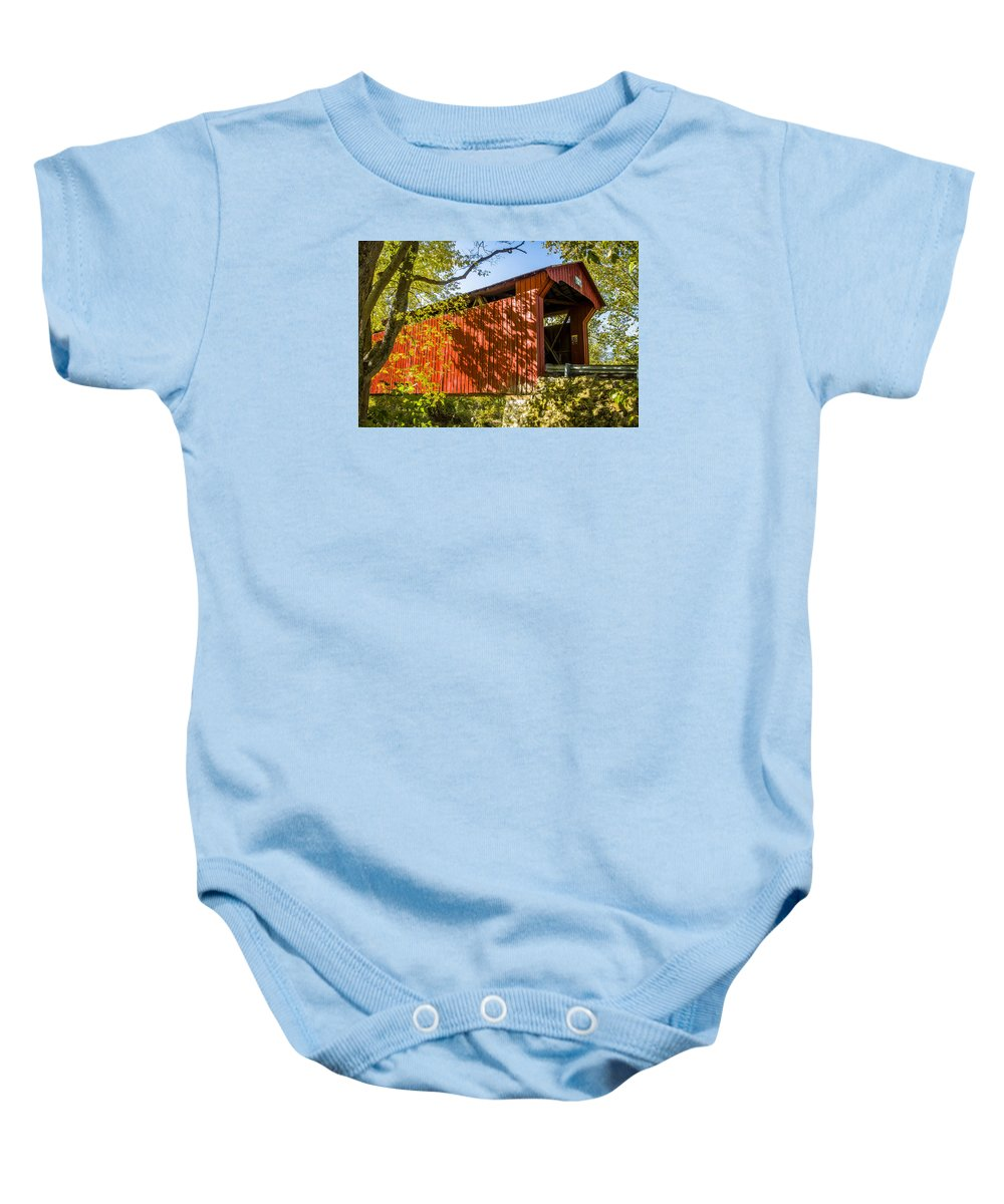 America Baby Onesie featuring the photograph Webster/dick Huffman Covered Bridgesw Of Putnamville, Washingto by Jack R Perry