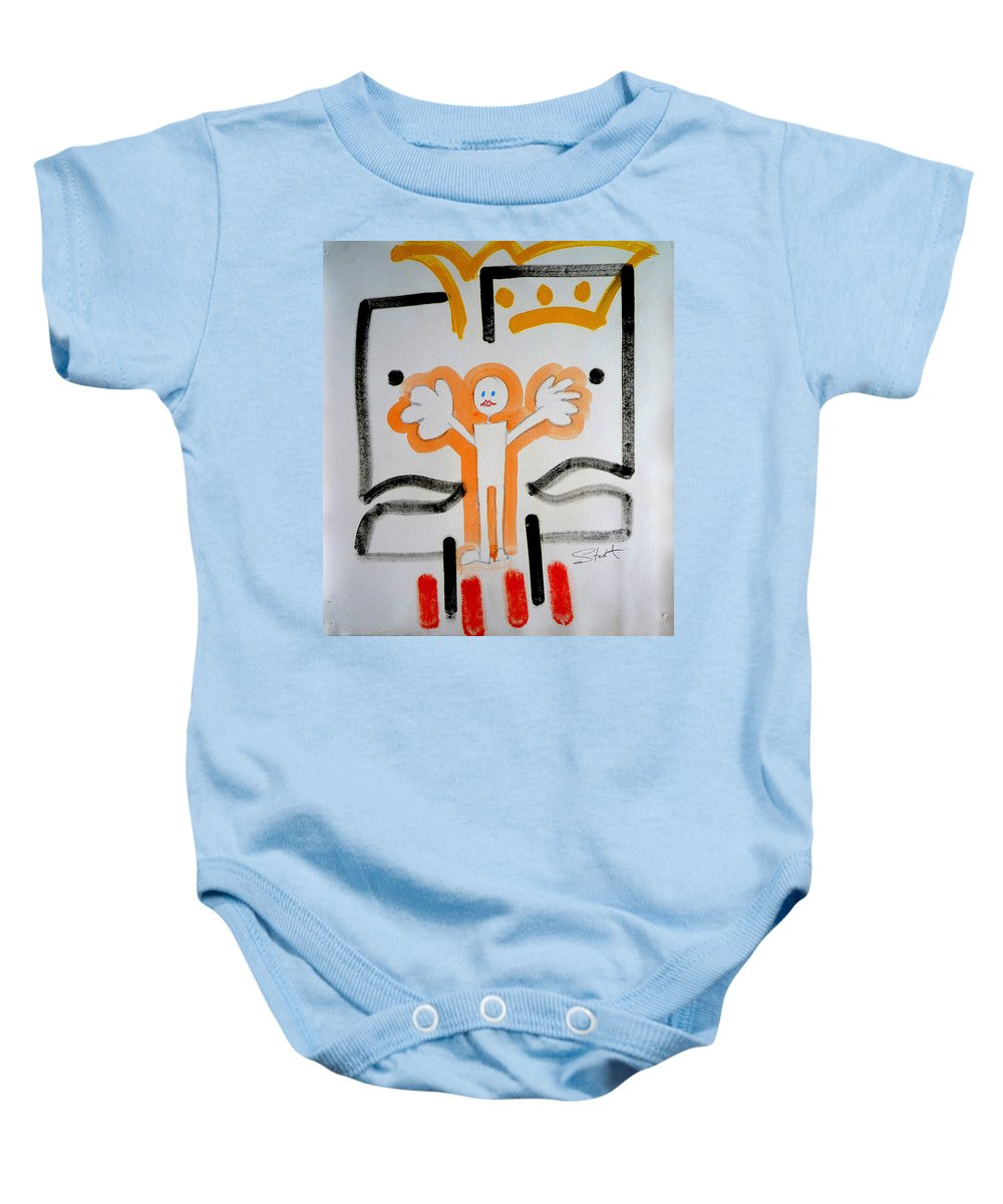 Drawing Baby Onesie featuring the painting welcome to the U N by Charles Stuart