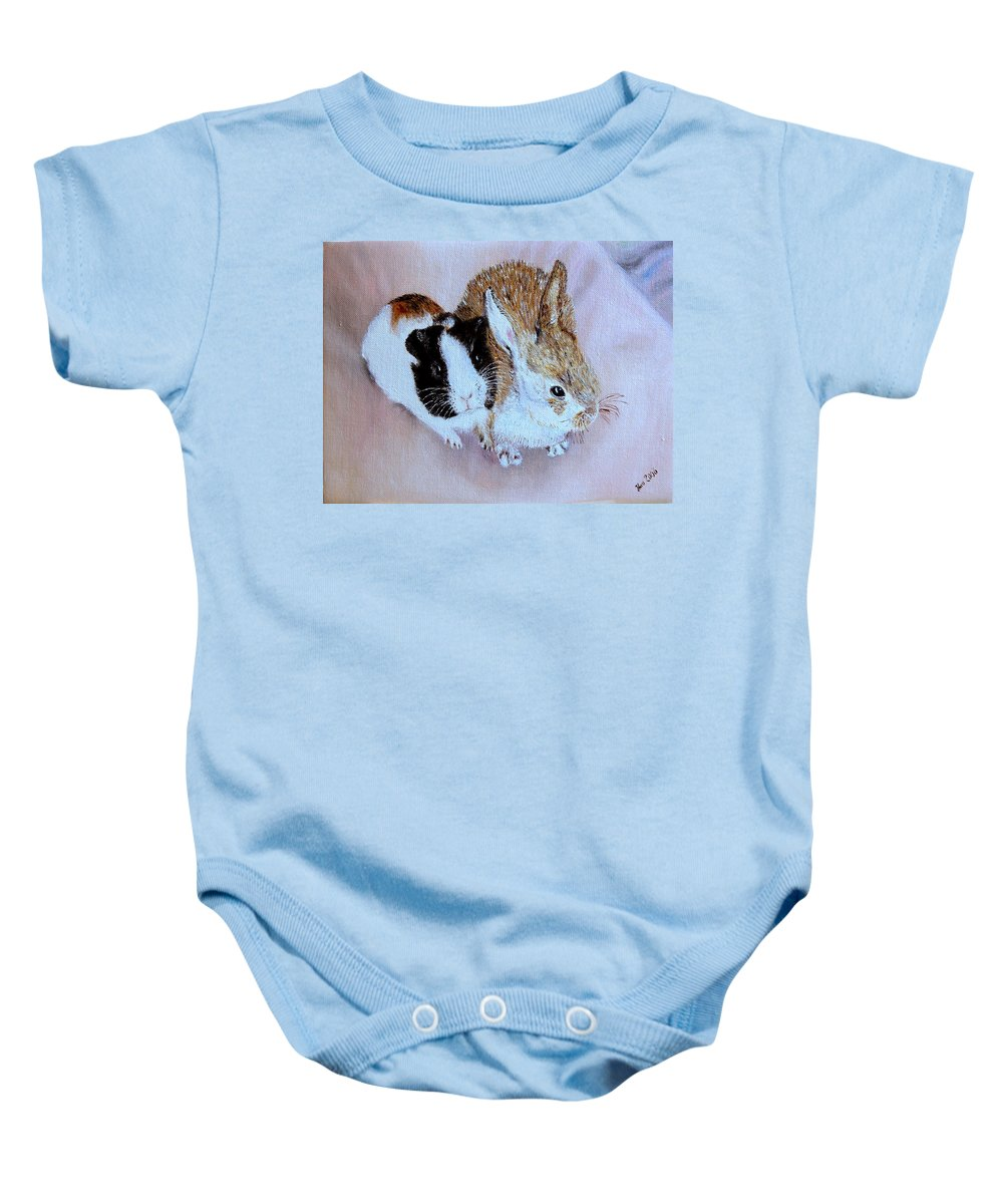 Pets Baby Onesie featuring the painting Wendy And Bobby by Helmut Rottler
