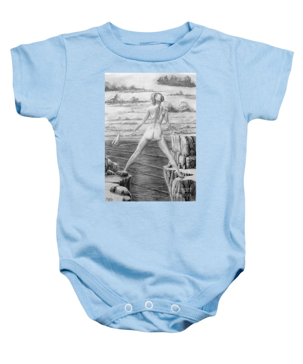 Nude Baby Onesie featuring the drawing Wendy from memory. by Murphy Elliott