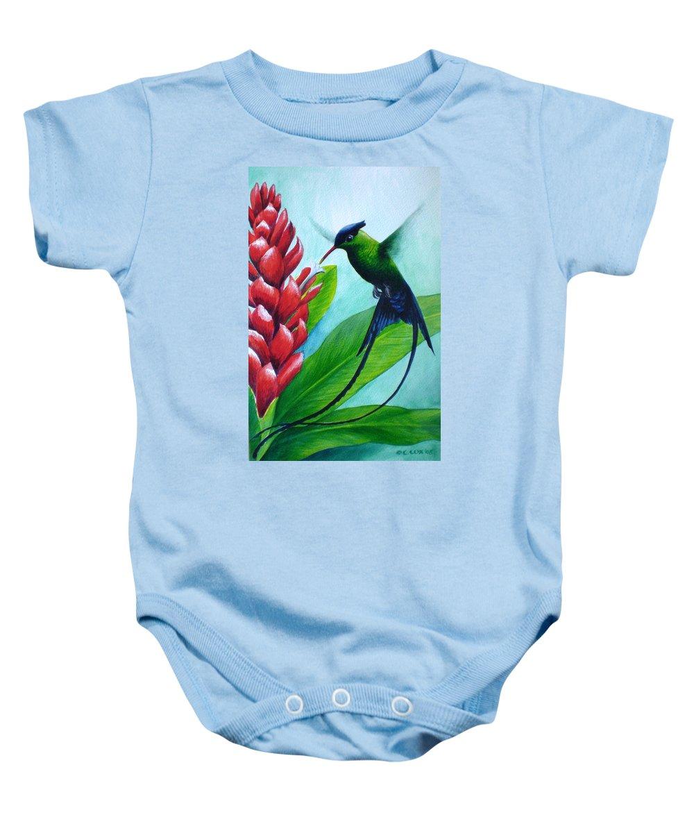 Western Streamertail Hummingbird Baby Onesie featuring the painting Western Streamertail Hummingbird by Christopher Cox