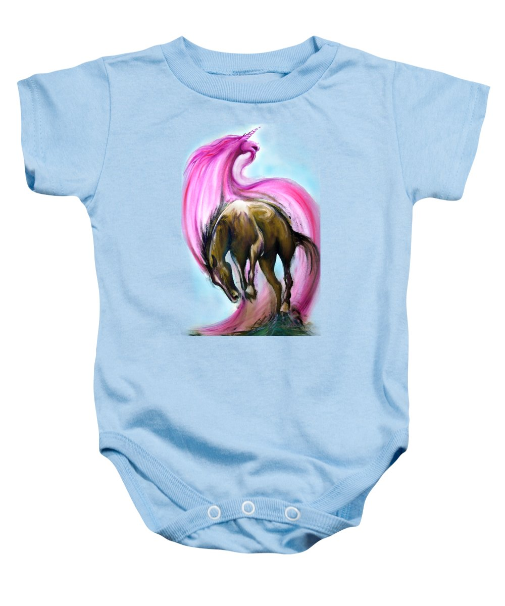 Unicorn Baby Onesie featuring the painting What If... by Kevin Middleton