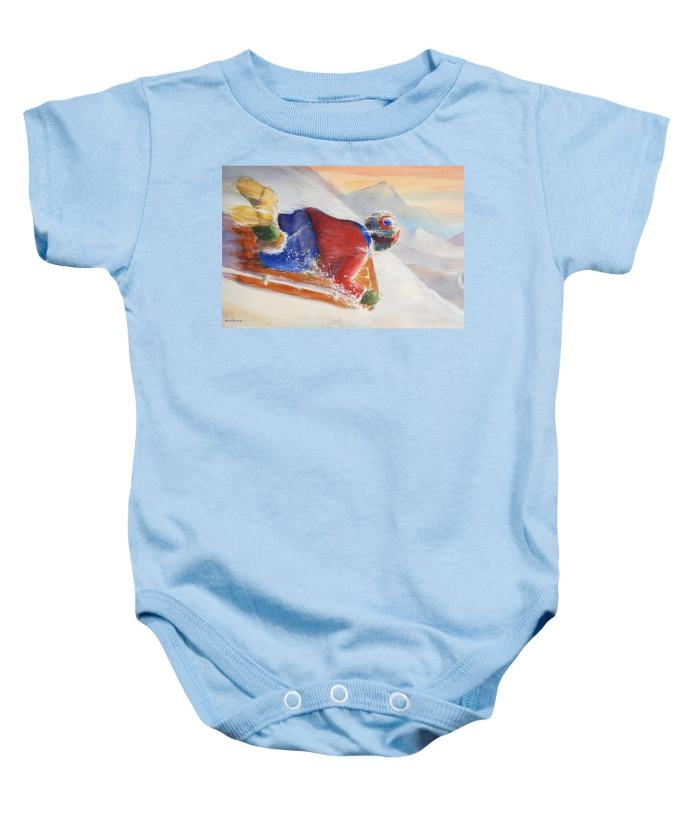 Solo Ride. Speed Baby Onesie featuring the painting Wheee by Marilyn Jacobson
