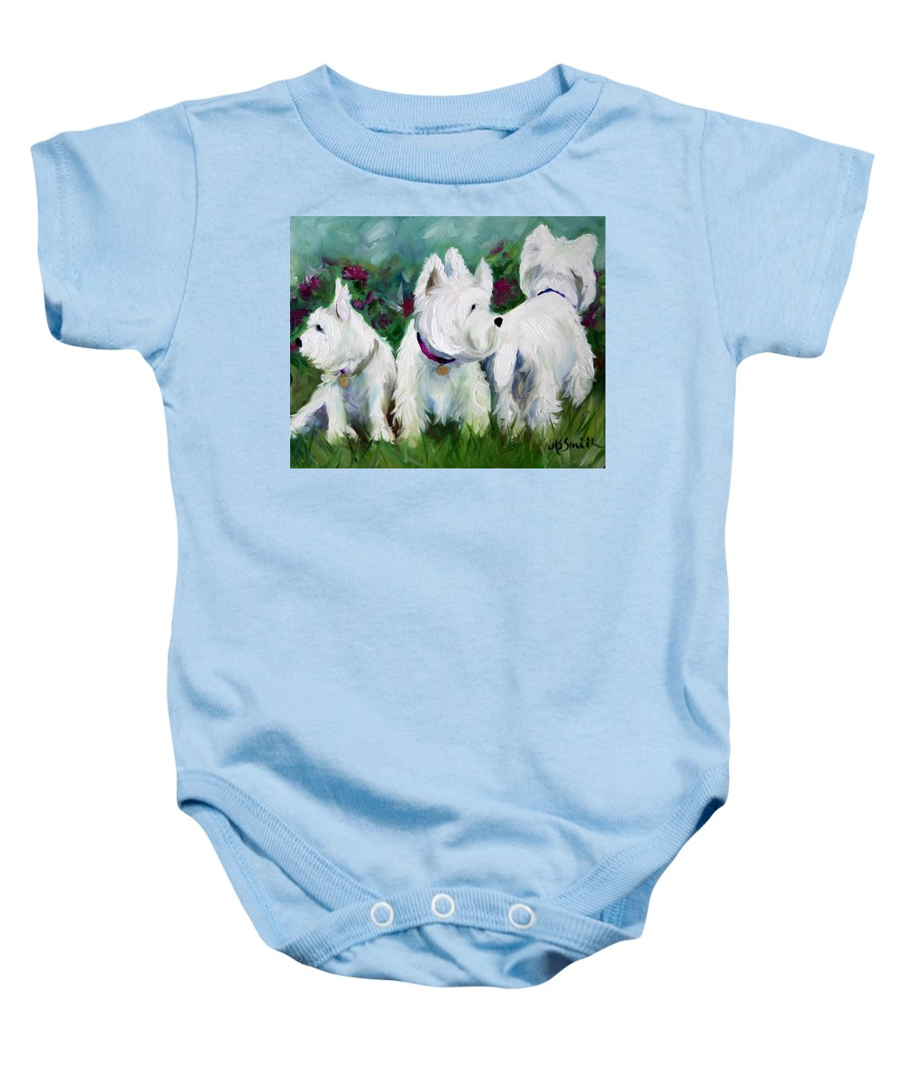 Art Baby Onesie featuring the painting Which Way Did It Go by Mary Sparrow