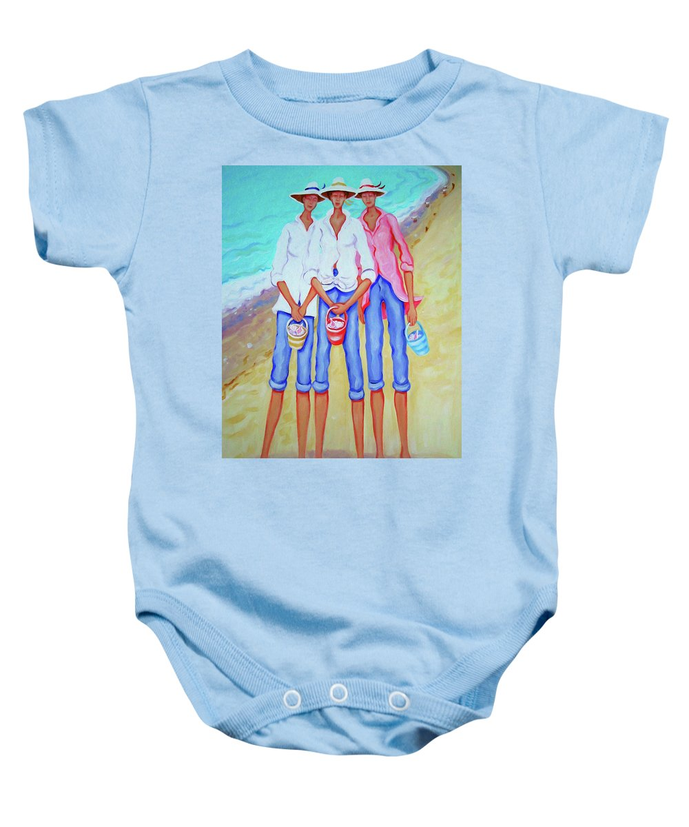 Whimsical Beach Women Baby Onesie featuring the painting Whimsical Beach Women - The Treasure Hunters by Rebecca Korpita