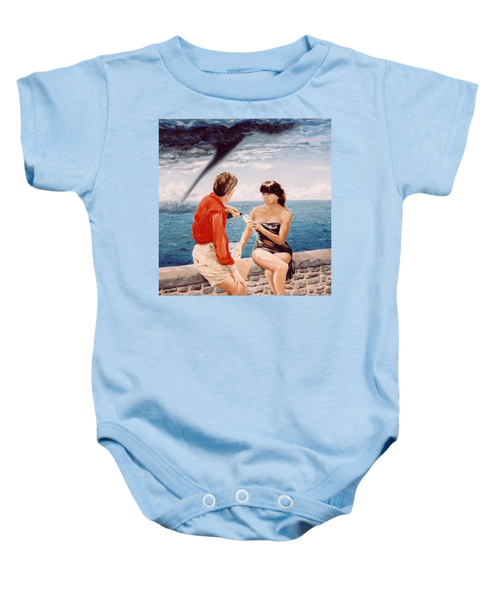 Whirlwind Baby Onesie featuring the painting Whirlwind Romance by Mark Cawood