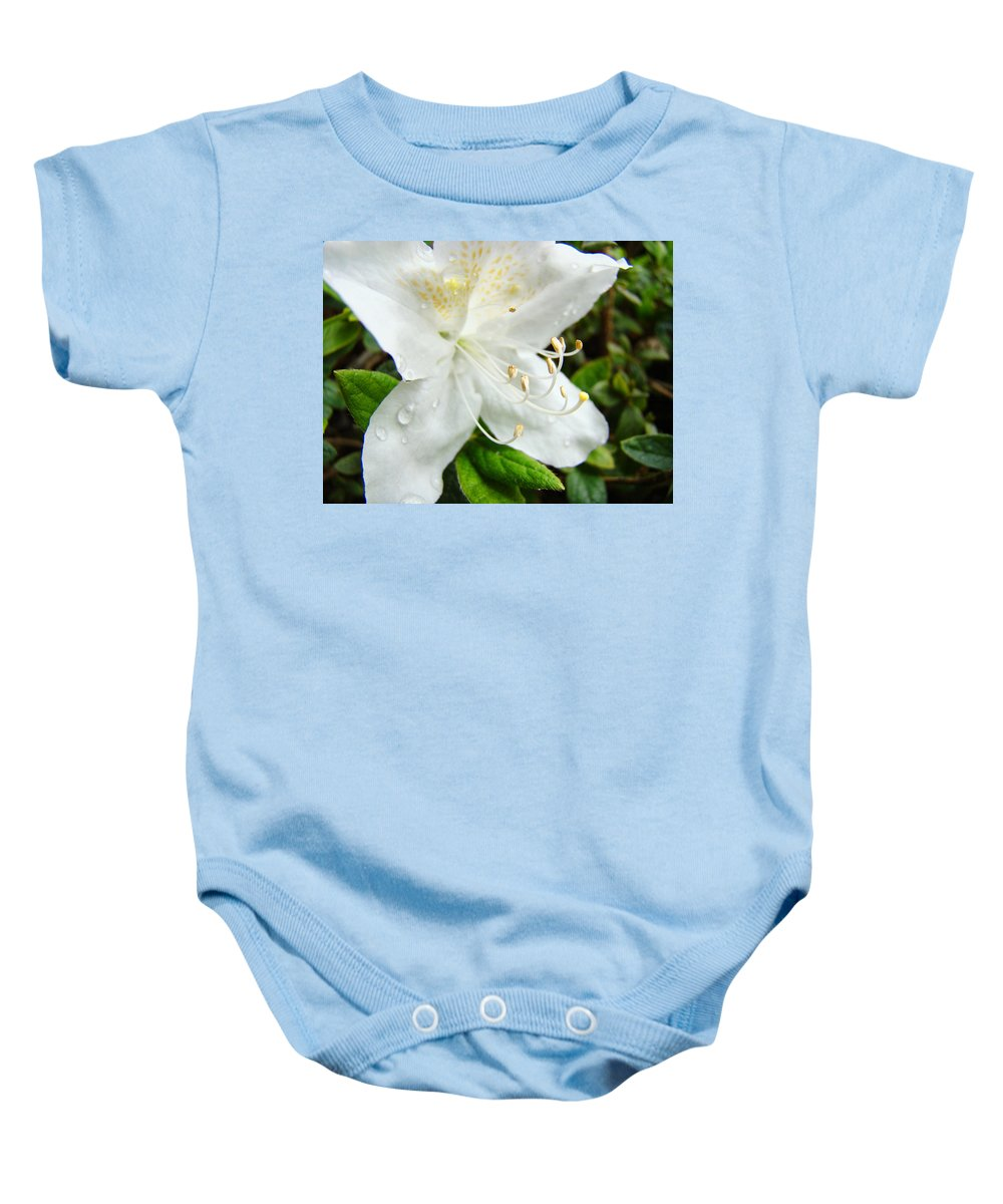 �azaleas Artwork� Baby Onesie featuring the photograph White Azalea Flower 9 Azaleas Raindrops Spring Art Prints Baslee Troutman by Baslee Troutman