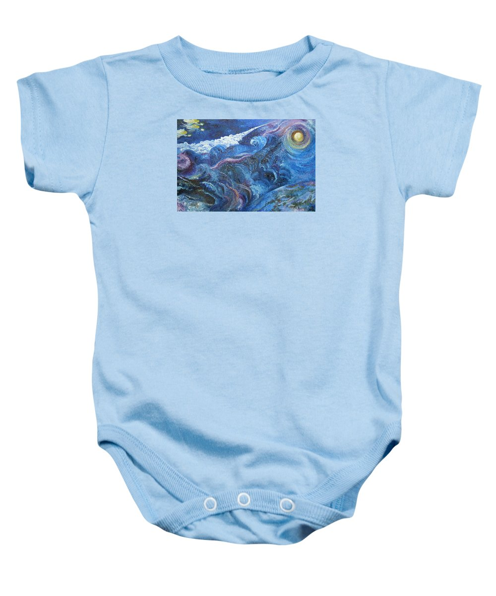 Baby Lambs Baby Onesie featuring the painting White Baby Lambs Of Peaceful Nights by Karina Ishkhanova