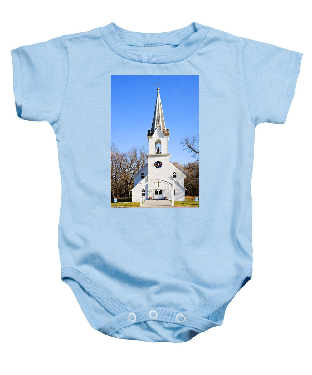 Church Baby Onesie featuring the photograph White Country Church With Open Bell Tower by Donald Erickson