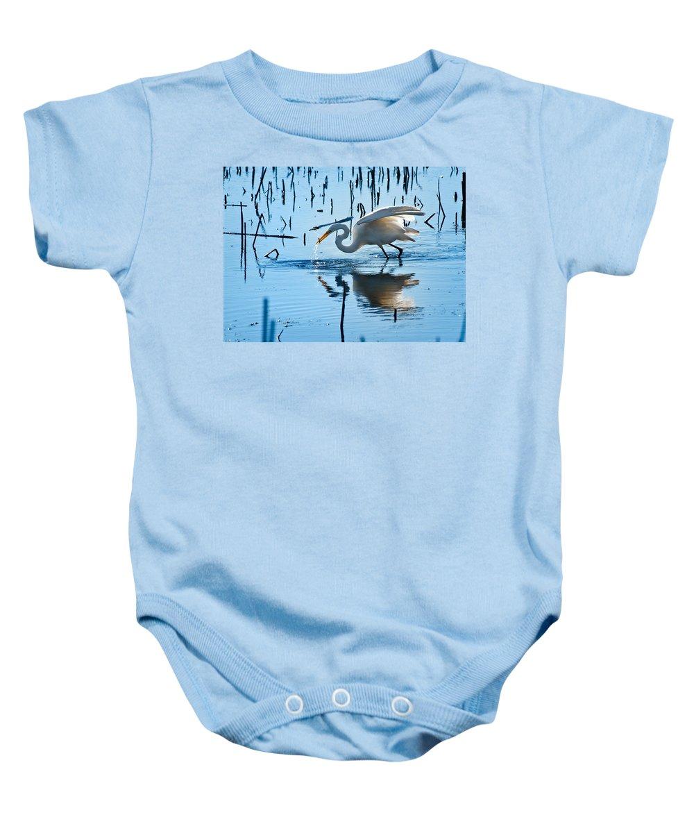 Bird Baby Onesie featuring the photograph White Egret At Horicon Marsh Wisconsin by Steve Gadomski