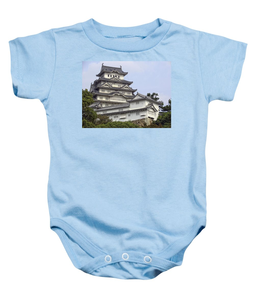 Castle Baby Onesie featuring the photograph White Heron Castle - Himeji City Japan by Daniel Hagerman