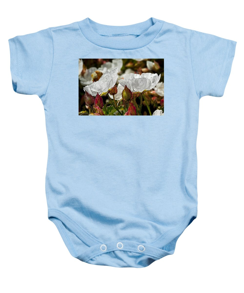 White Flowers Baby Onesie featuring the photograph White Paper Petals by Kelley King