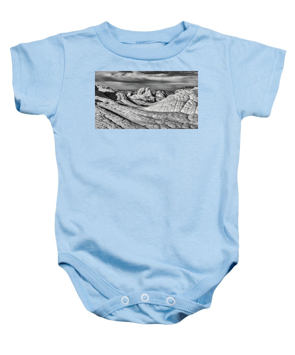 16:9 Baby Onesie featuring the photograph White Pocket Pano Bw by Jerry Fornarotto