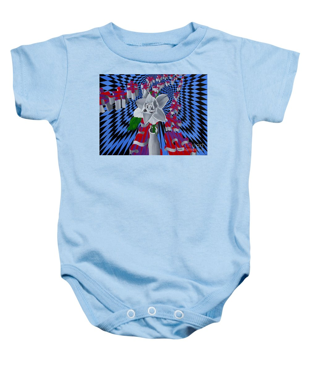 Abstract Baby Onesie featuring the painting White Rose by Richard Dotson