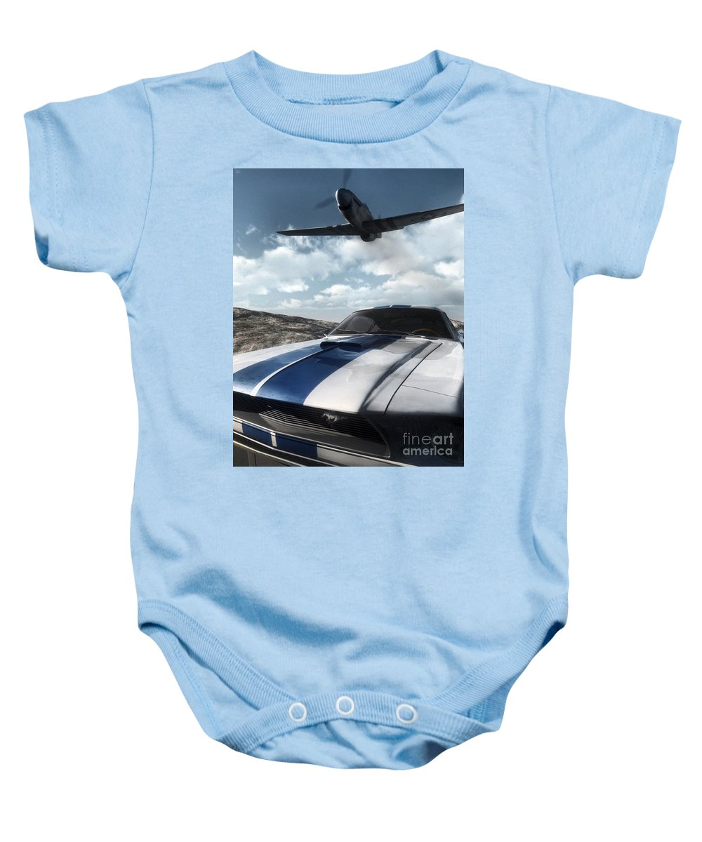 Racing Baby Onesie featuring the digital art Wild Horses by Richard Rizzo