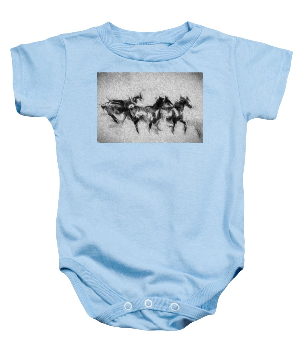 Horse Baby Onesie featuring the photograph Wild In The Storm by Terry Fiala