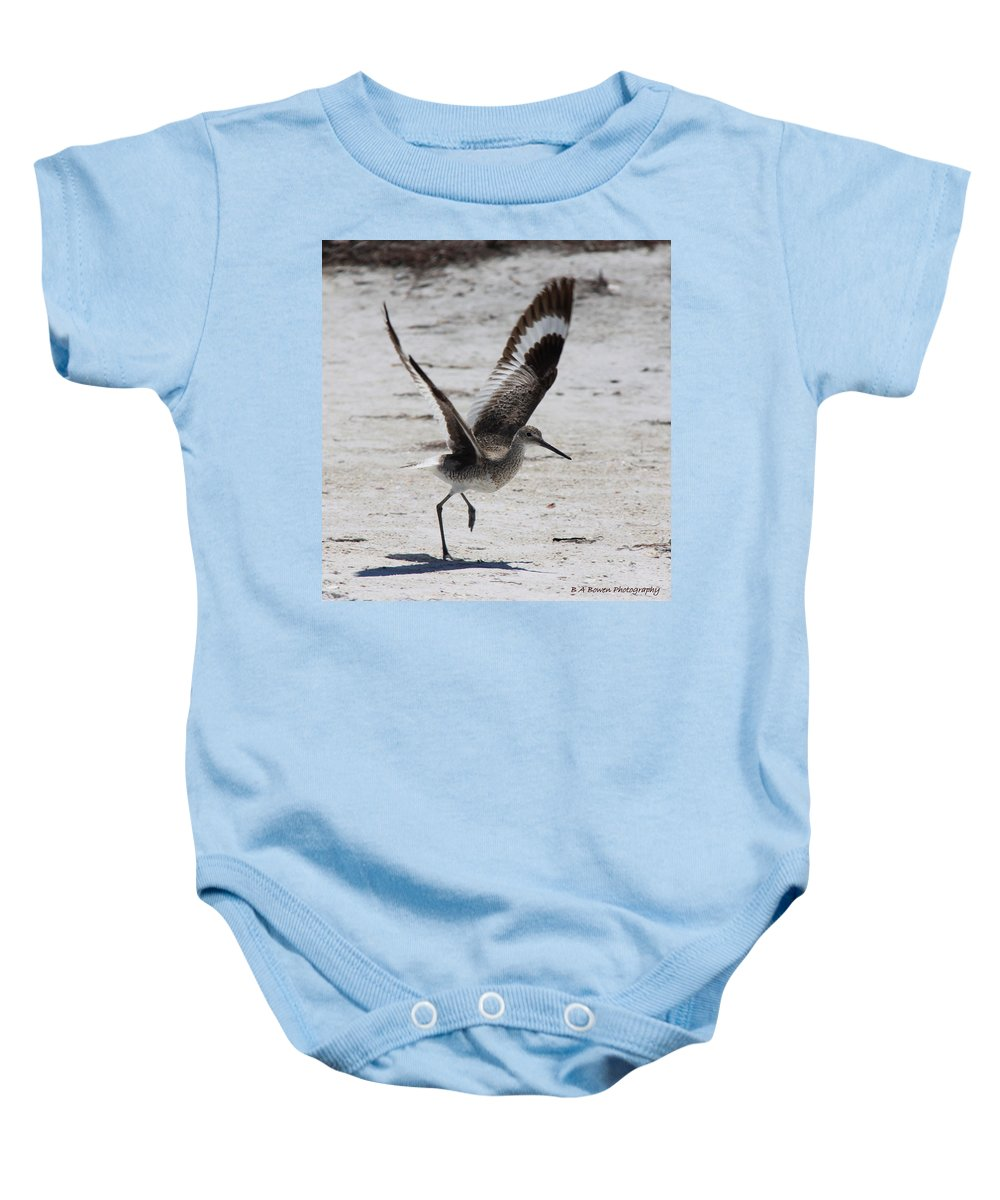 Willet Baby Onesie featuring the photograph Willet Take-off by Barbara Bowen