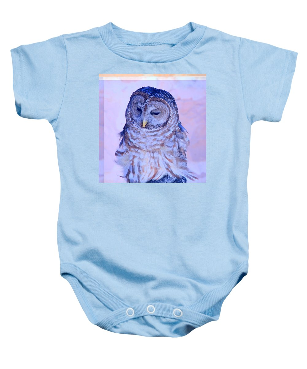 Barr Owl Baby Onesie featuring the photograph Wind Blown Owl by Tanya Porter
