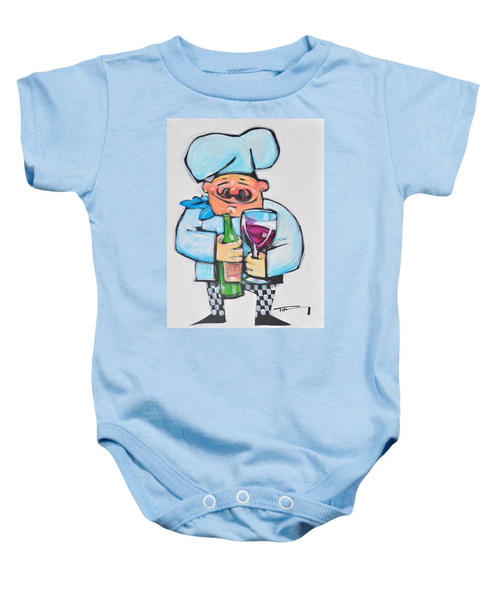 Chef Baby Onesie featuring the painting Wining Chef by Tim Nyberg