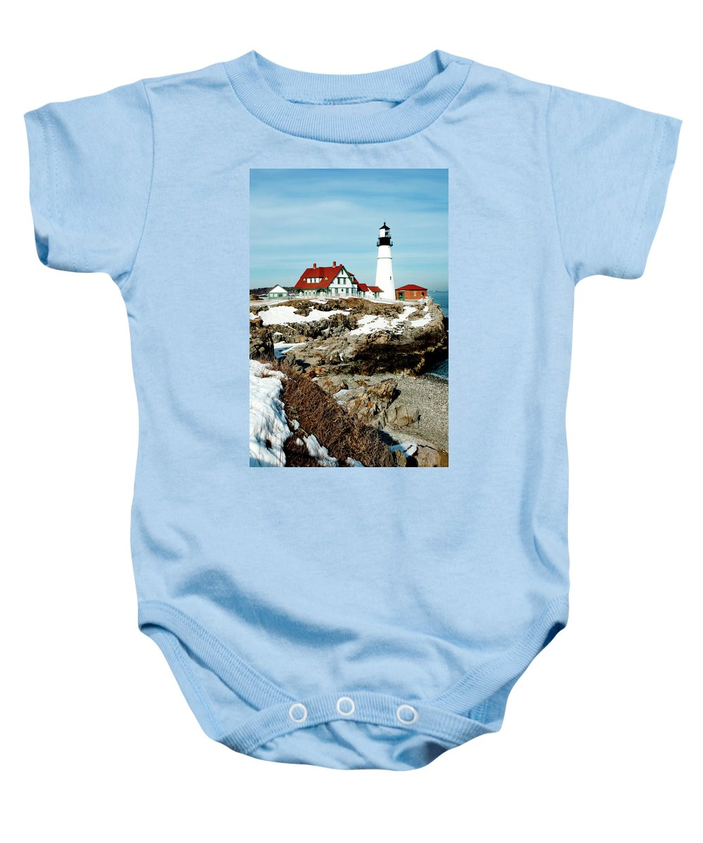 Coast Baby Onesie featuring the photograph Winter At Portland Head by Greg Fortier