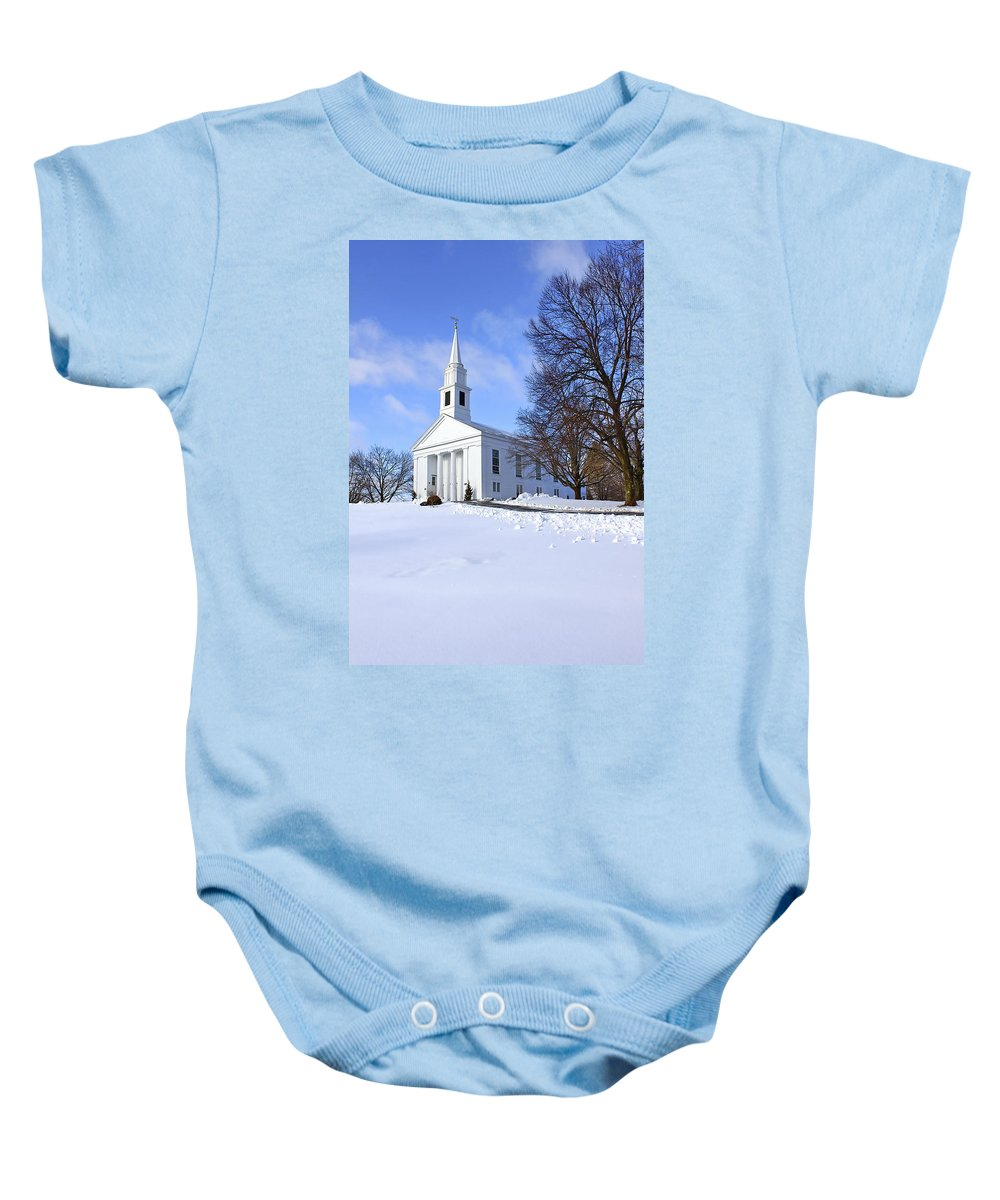 Beautiful Baby Onesie featuring the photograph Winter Church by Evelina Kremsdorf