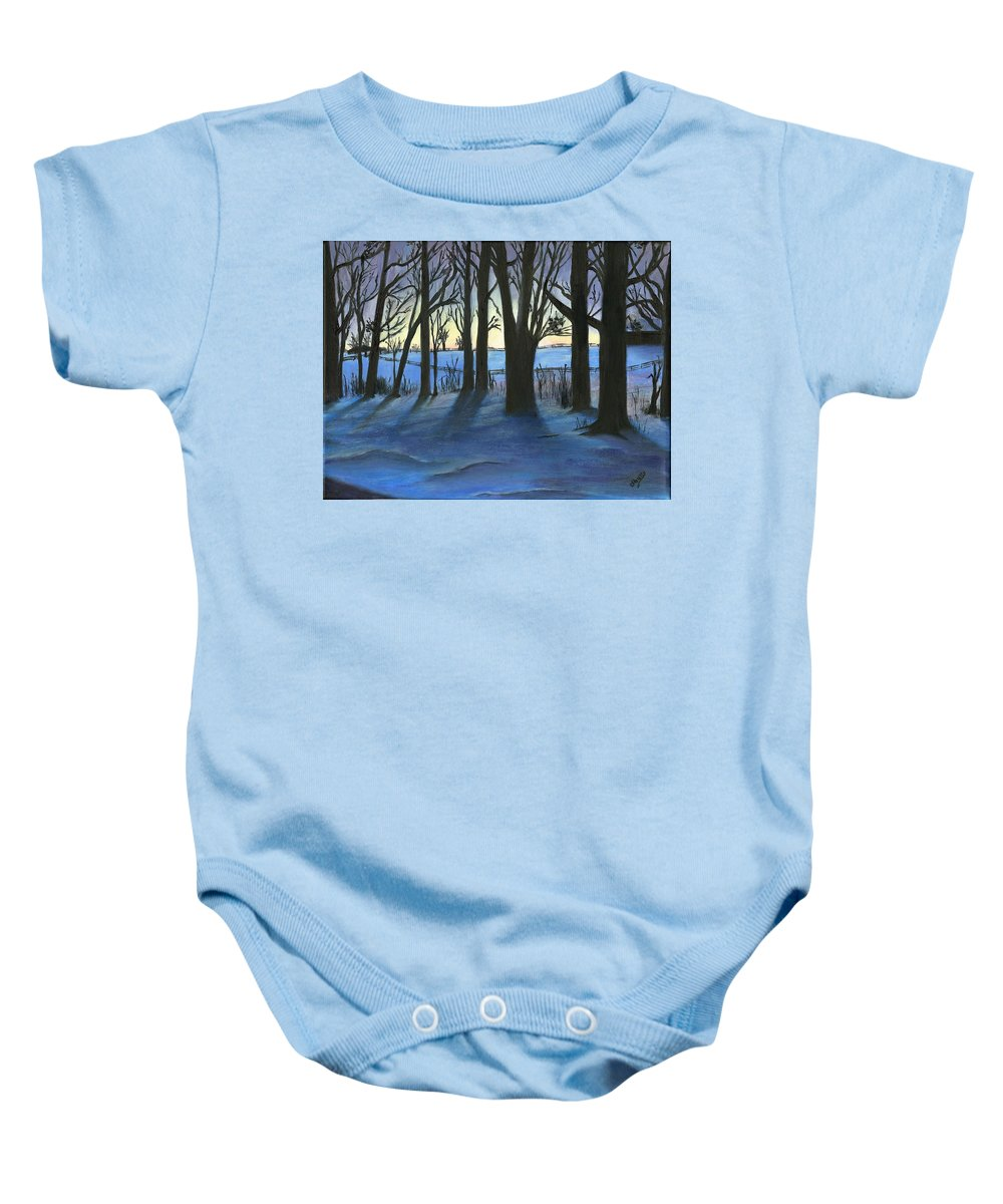 Winter Scenes Baby Onesie featuring the painting Winter Day's End by Deborah Butts