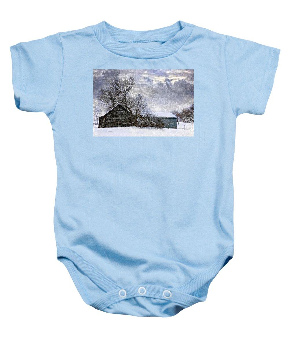 Winter Baby Onesie featuring the photograph Winter Farm by Steve Harrington