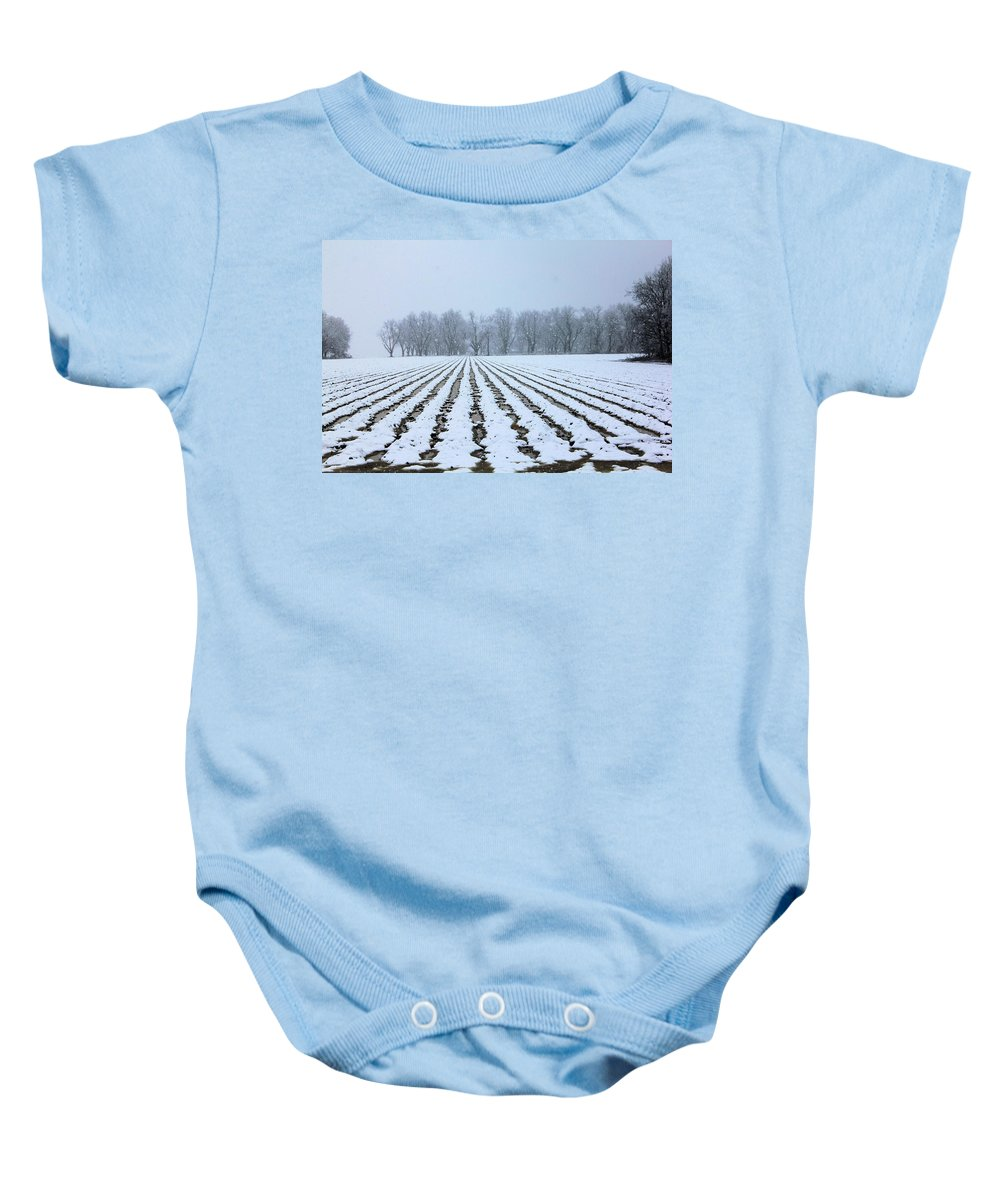 Winter Baby Onesie featuring the photograph Winter Field by Karen Wagner