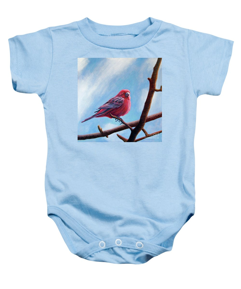 Bird Baby Onesie featuring the painting Winter Finch by Brian Commerford