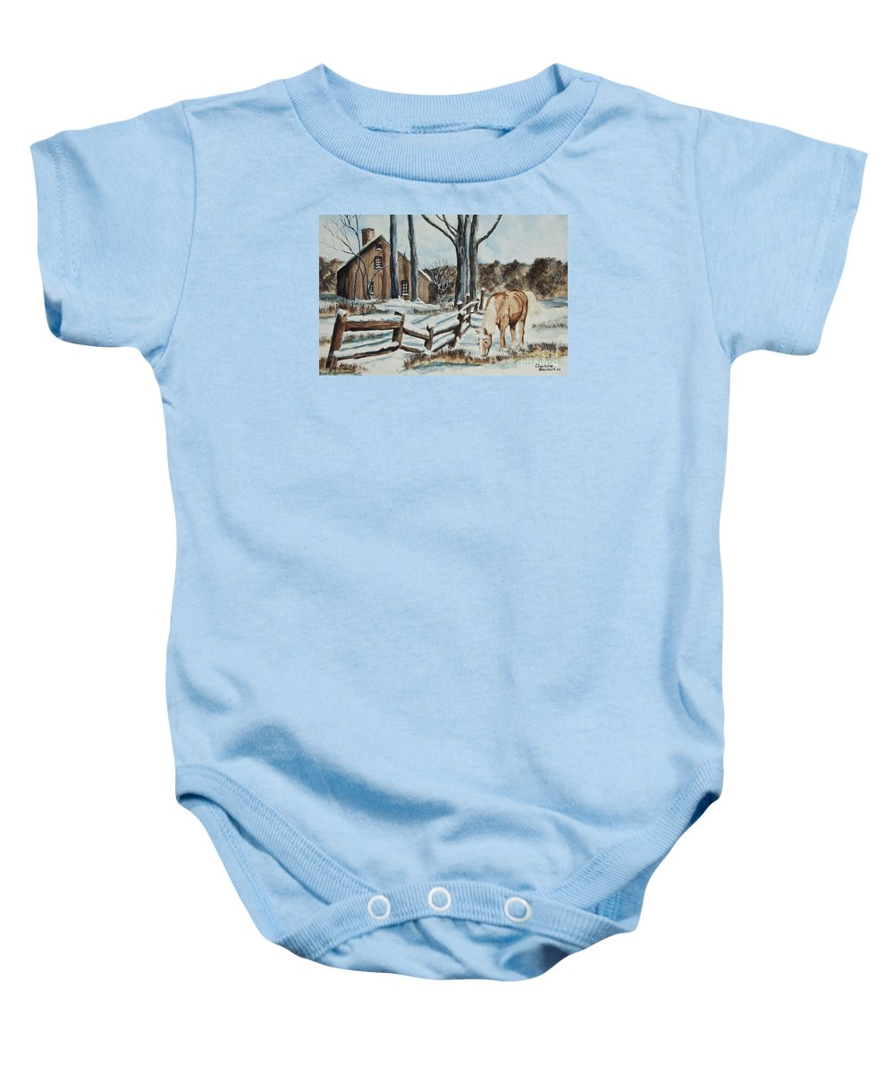 Horse Baby Onesie featuring the painting Winter Grazing by Charlotte Blanchard