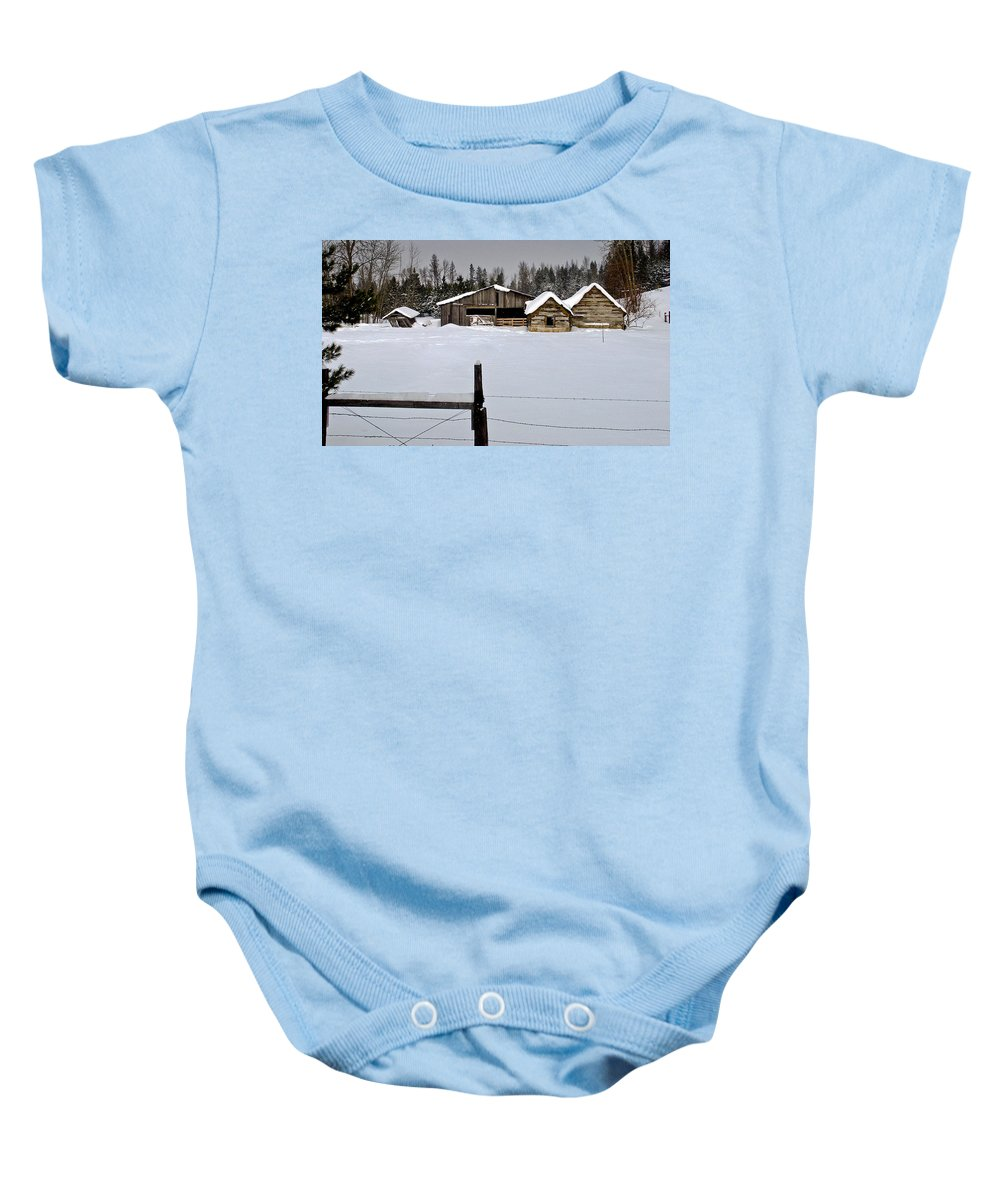 North Idaho Baby Onesie featuring the photograph Winter On The Ranch by Albert Seger