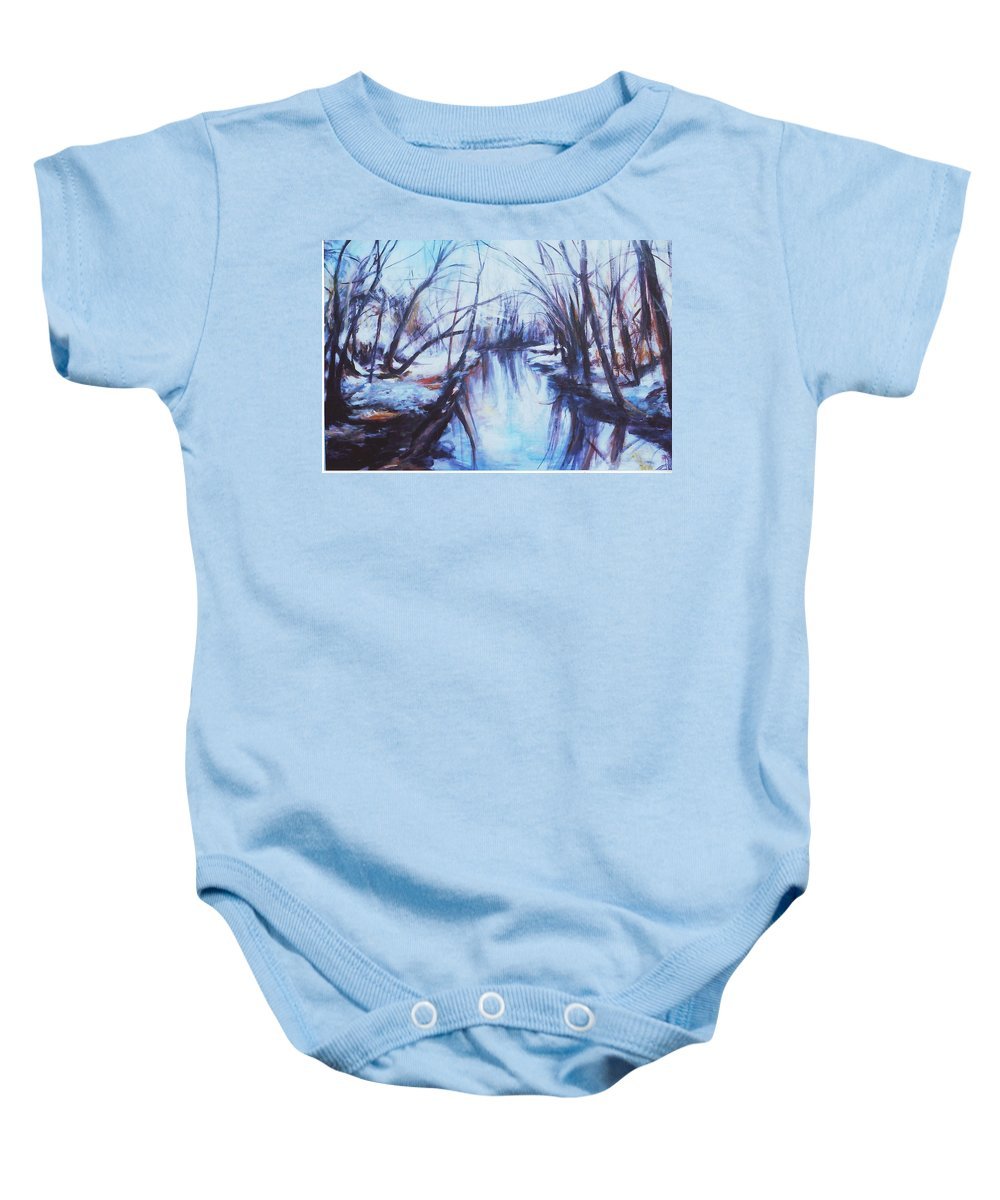 Landscape Baby Onesie featuring the painting Winter Reflections by Sheila Holland