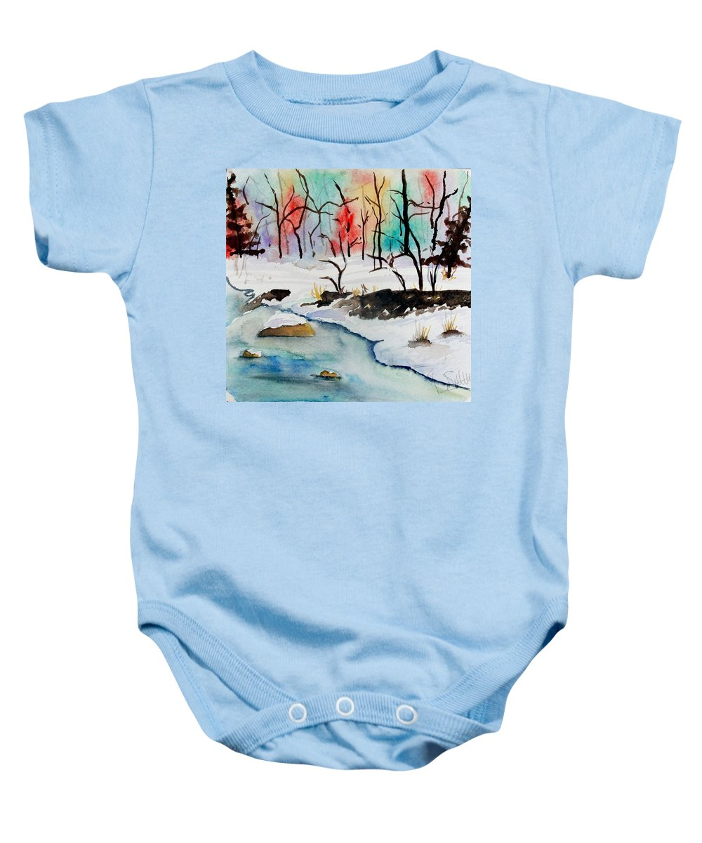 Colors Baby Onesie featuring the painting Winter Stream by Jimmy Smith