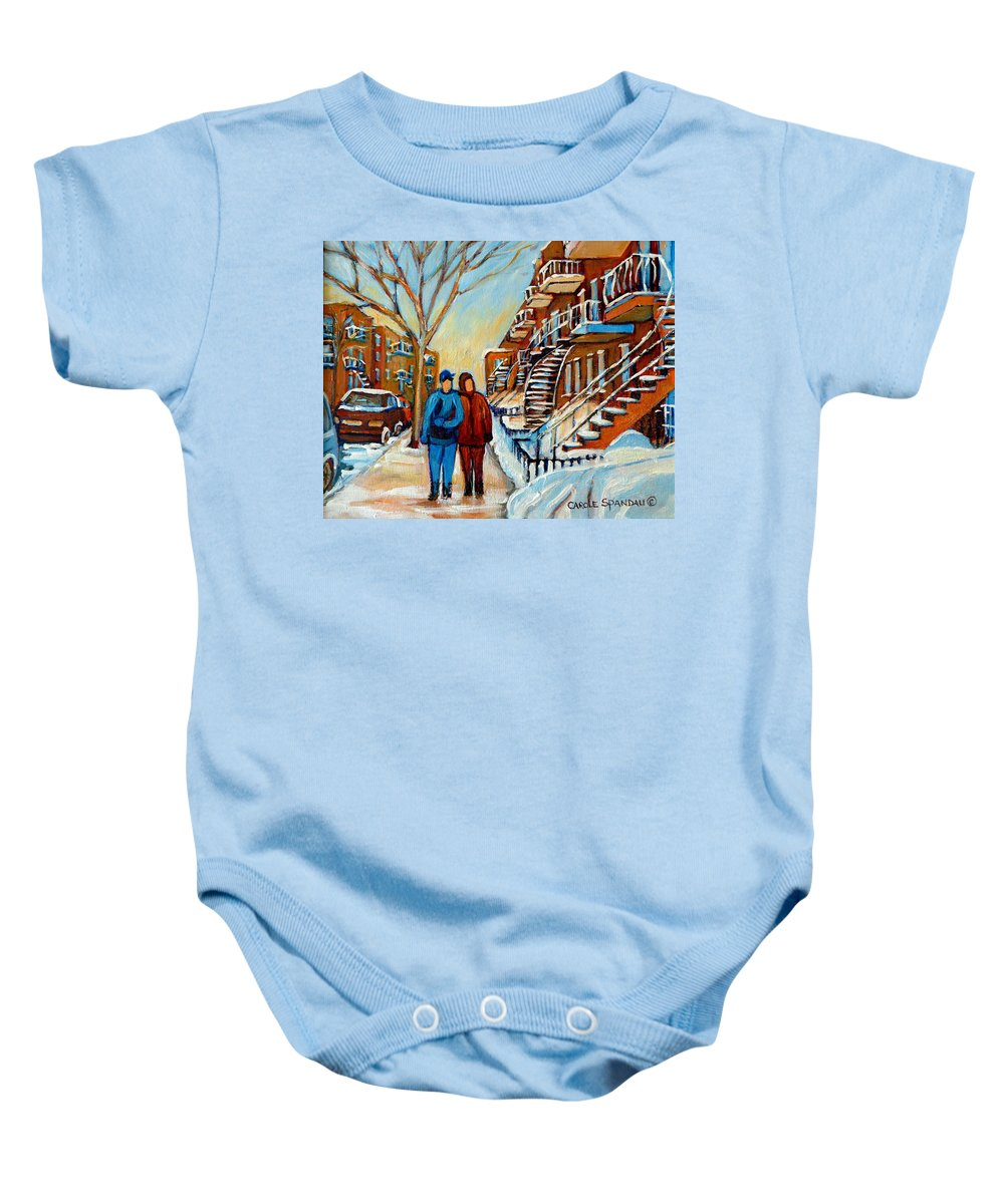 Montreal Baby Onesie featuring the painting Winter Walk In Montreal by Carole Spandau
